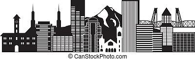 portland, oregon, skyline, schwarz weiß, abbildung