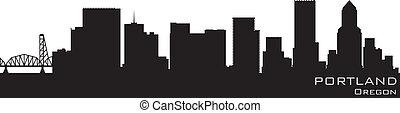 portland, oregon, skyline., szczegółowy, wektor, sylwetka