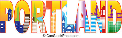 Portland Oregon Skyline Text Outline Color Illustration