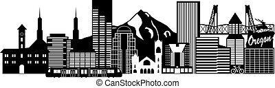 Portland Oregon Outline Silhouette with City Skyline Downtown and Transportation Panorama Black Isolated on White Background Illustration