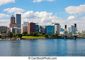 Skyscrapers next to a river in Portland
