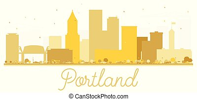 Portland Oregon USA City skyline golden silhouette.