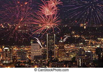 Portland Oregon, USA Fireworks