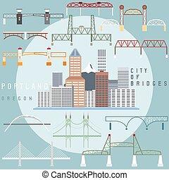 Portland ,Oregon, USA flat design illustration of business center and set of bridges