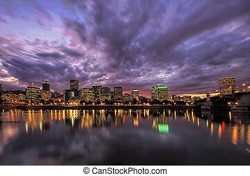 Portland Oregon Waterfront Skyline After Sunset - Portland...