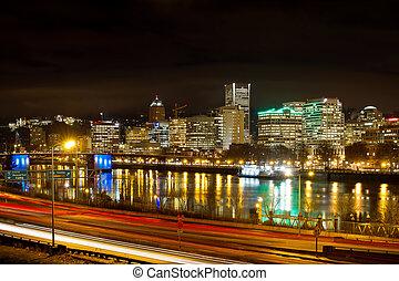 Portland Oregon Waterfront Skyline at Night