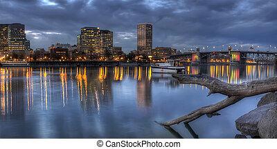 Portland Oregon Waterfront Skyline with Morrison Bridge -...