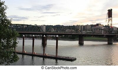 Portland Oregon Willamette River - Portland Oregon Cityscape...
