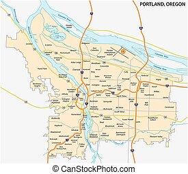 portland road and neighborhood map