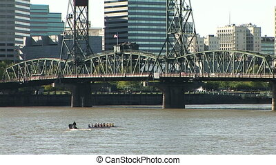 Portland Rowers - Oarsmen training on the Willamette river...