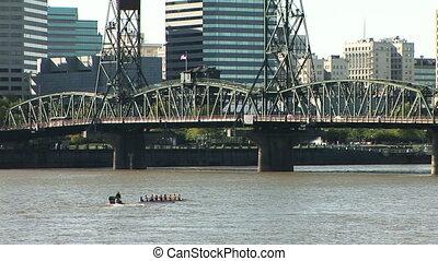 Portland Rowers - Oarsmen training on the Willamette river...