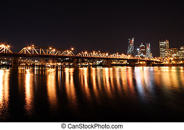 Portland Skyline at night - Downtown Portland Oregon at...