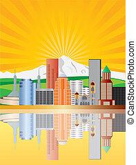 Portland Oregon Downtown Skyline with Mount Hood at Sunrise Illustration