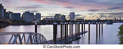 Portland Skyline by the Boat Dock at Sunset - Portland...