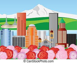 Portland Oregon Skyline with Mount Hood and Roses Illustration