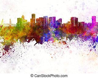 Portland skyline in watercolor background