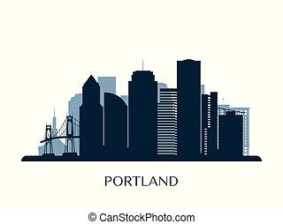 Portland skyline, monochrome silhouette.