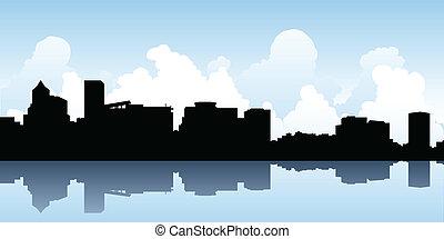 Skyline silhouette of the city of Portland, Oregon, USA.