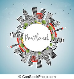 Portland Skyline with Gray Buildings, Blue Sky and Copy Space.