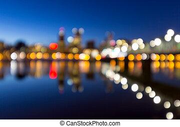 portland, stadtzentrum, skyline, blaues, stunde, verwischt, defocused, bokeh