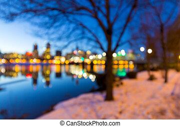 portland, stadtzentrum, skyline, winternacht, verwischt, defocused, bokeh
