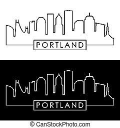 portland, style., skyline., linéaire
