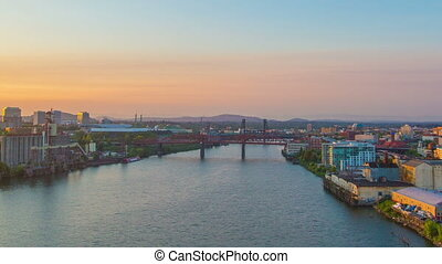 Portland Sunrise waterfront - Time lapse of downtown...