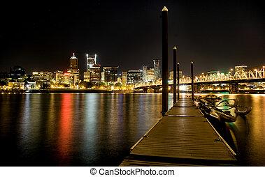 portland, tiro, oregón, noche