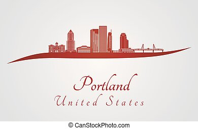 Portland skyline in red and gray background in editable vector file