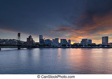 Portland Waterfront City Skyline at Sunset