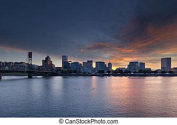 Portland Waterfront City Skyline at Sunset