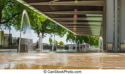 Portland Waterfront Fountains - Time lapse of fountains and...