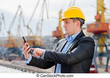 portmaster, met, digitaal tablet