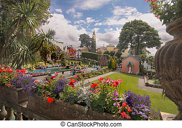 Portmeirion is a village in Gwynedd Wales, UK, that was built in an Italian style.