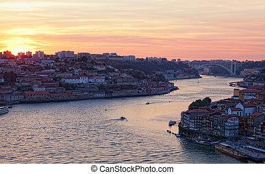 porto , γριά , ηλιοβασίλεμα , πορτογαλία , πόλη