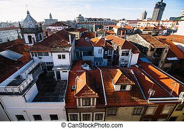 porto, 古い, 伝統的である, -, portugal., ダウンタウンに, 家
