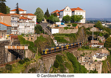 porto, 古い 町, 地下鉄, portugal., 列車