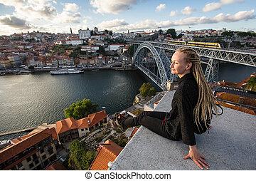 porto, 女, -, 若い, portugal., ダウンタウンに