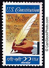 porto, 1987, ondertekening, grondwet, usa, postzegel