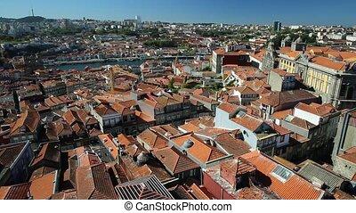 Porto aerial Portugal - Oporto urban landscape on Douro...