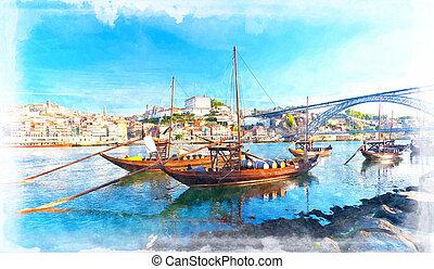 porto, altes , farbe, wasser, portugal., traditionelle , ...