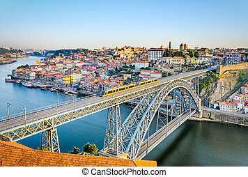 Porto and Dom Luiz bridge, Portugal - View of the historic...