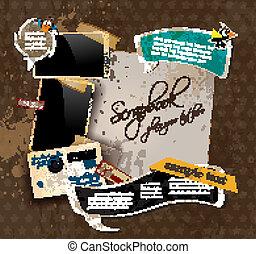 porto, antikes , stil, elemente, altes , sammelalbum, bekümmert, weinlese, einige, design, aufnahme rahmt, plus, pfahl, stickers., zusammensetzung