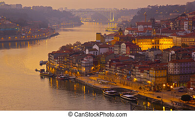 Porto at sunset, Portugal - beautiful panorama of Ribeira...