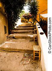 Porto Azzuro, Elba Island, Italy - August, 2011: The streets neer Port in Porto Azzurro on Elba Island, Italy on August, 2011.
