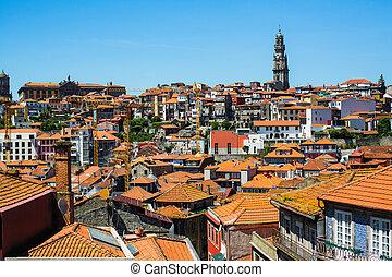 porto, bâtiments, vieux, centre, résidentiel, sommet, -, portugal., vue