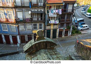 porto, bâtiments, vieux, résidentiel, -, portugal., partie