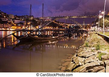 porto, bateaux, nuit, douro, rivière, rabelo