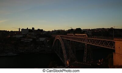 Porto Bridge train - Aerial view of Oporto skyline and...