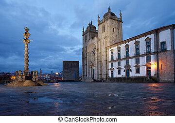 Porto Cathedral and Pillory Column in Portugal - Porto...